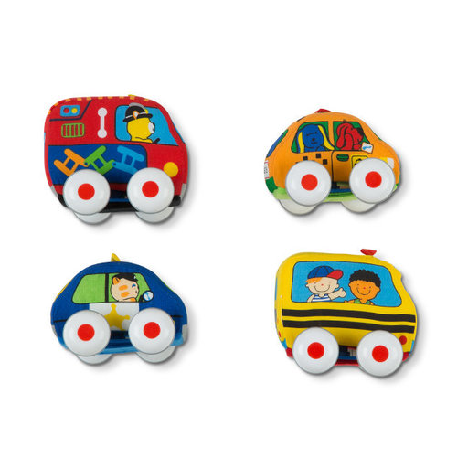 View a Larger Image of Pull-Back Vehicles, Soft Baby and Toddler Toy Set, 4 Cars and Trucks and Carrying Case