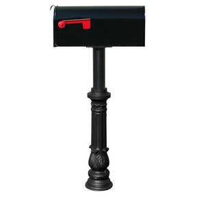 Economy Mailbox with Hanford Post and Ornate Base, Black