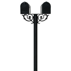 Economy Mailboxes with Hanford Twin Post and Support Braces, Black
