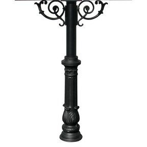 Hanford Quadruple Post with Support Braces and Ornate Base, Black