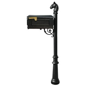 Lewiston Equine Mailbox with Post, Horsehead Finial, and Fluted Base, Black