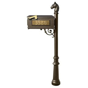 Lewiston Equine Mailbox with Post, Horsehead Finial, and Fluted Base, Bronze with Gold Lettering