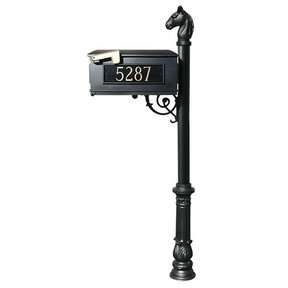 Lewiston Equine Mailbox with Post, Horsehead Finial, and Ornate Base, Black with Gold Lettering