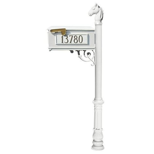 View a Larger Image of Lewiston Equine Mailbox with Post, Horsehead Finial, and Ornate Base, White with Gold Lettering