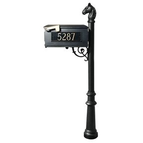 Lewiston Equine Mailbox with Post, Horsehead Finial, Fluted Base and Fleur-de-Lis Front Plate, Black with Gold Lettering
