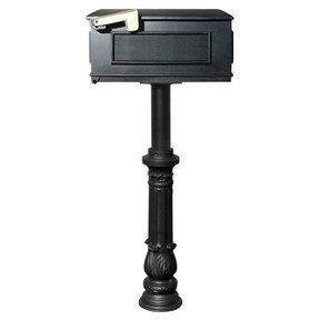 Lewiston Mailbox with Hanford Post and Ornate Base, Black