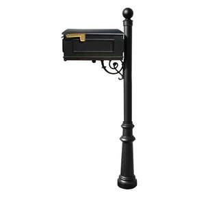 Lewiston Mailbox with Post, Ball Finial, and Fluted Base, Black