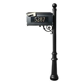 Lewiston Mailbox with Post, Ball Finial, Fluted Base and Fleur-de-Lis Front Plate, Black with Gold Lettering