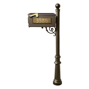 Lewiston Mailbox with Post, Ball Finial,  Fluted Base and Fleur-de-Lis Front Plate, Bronze with Gold Lettering