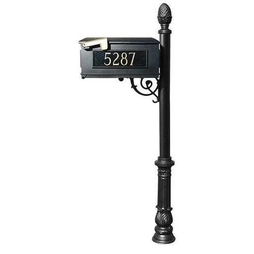 View a Larger Image of Lewiston Mailbox with Post, Pineapple Finial, and Ornate Base, Black with Gold Lettering