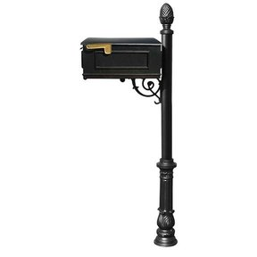 Lewiston Mailbox with Post, Pineapple Finial, and Ornate Base, Black