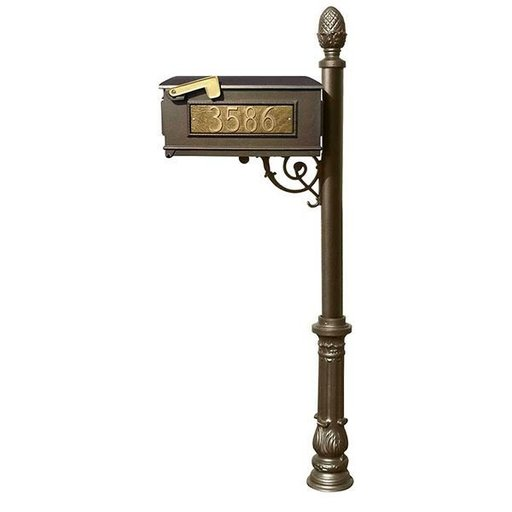 View a Larger Image of Lewiston Mailbox with Post, Pineapple Finial, and Ornate Base, Bronze with Gold Lettering