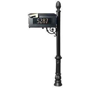 Lewiston Mailbox with Post, Pineapple Finial, Ornate Base and Fleur-de-Lis Front Plate, Black with Gold Lettering