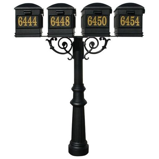 View a Larger Image of Lewiston Mailboxes with Hanford Quadruple Post, Support Braces, and Fluted Base, Black