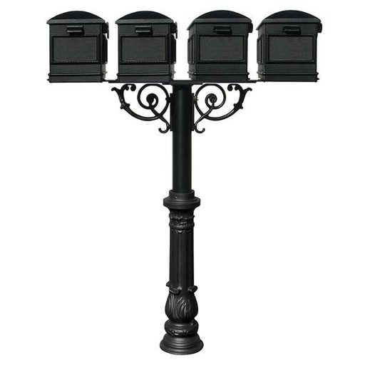 View a Larger Image of Lewiston Mailboxes with Hanford Quadruple Post, Support Braces and Ornate Base, Black