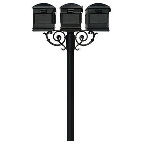 Lewiston Mailboxes with Hanford Triple Post and Support Braces, Black