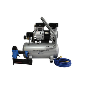 Quiet Flow 1 HP 4.7 Gallon Steel Tank Air Compressor with Nail Gun Kit