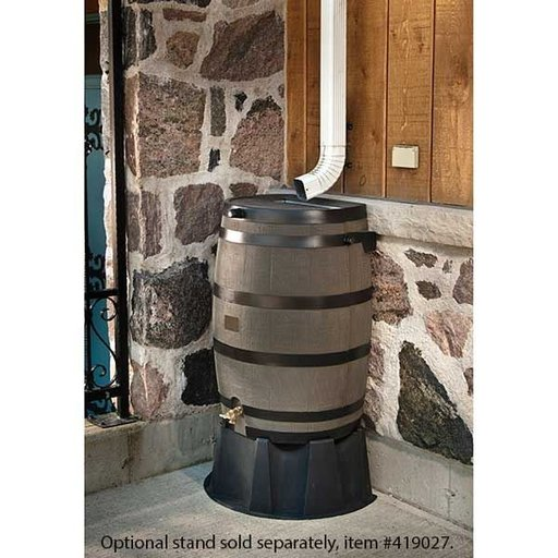 View a Larger Image of Rain Barrel with Flat Back and Brass Spigot, 50 gallon, Brown