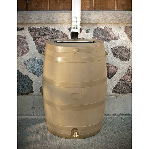 View a Larger Image of Rain Barrel with Flat Back and Brass Spigot, 50 gallon, Oak