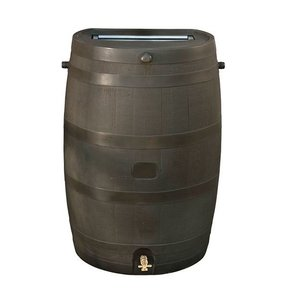 Rain Barrel with Flat Back and Brass Spigot, 50 gallon, Wood Grain