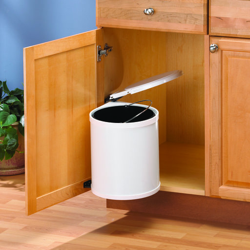 View a Larger Image of Real Solutions Single 12qt Pivot-out Waste & Recyling Unit with Lid, White
