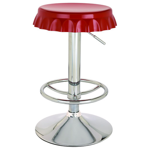 View a Larger Image of Red Bottle Cap Swivel Shop Stool