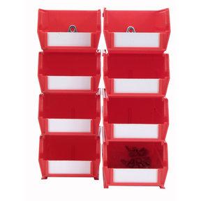 4pk each - Small & Medium Red Hanging Bin & BinClip Kits