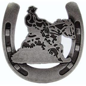 Riding Cowboy Horseshoe Knob, Old Silver
