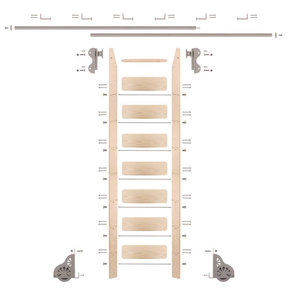 Rolling Hook 8-Foot Maple Ladder Kit with 12-Foot Rail and Horizontal Brackets, Satin Nickel