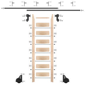 Rolling Hook 8-Foot Maple Ladder Kit with 12-Foot Rail and Vertical Brackets, Black