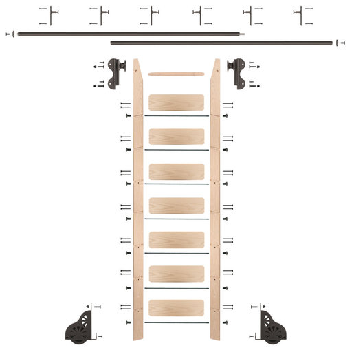 View a Larger Image of Rolling Hook 8-Foot Maple Ladder Kit with 12-Foot Rail and Vertical Brackets, Bronze