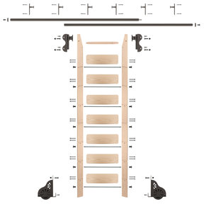 Rolling Hook 8-Foot Maple Ladder Kit with 12-Foot Rail and Vertical Brackets, Bronze