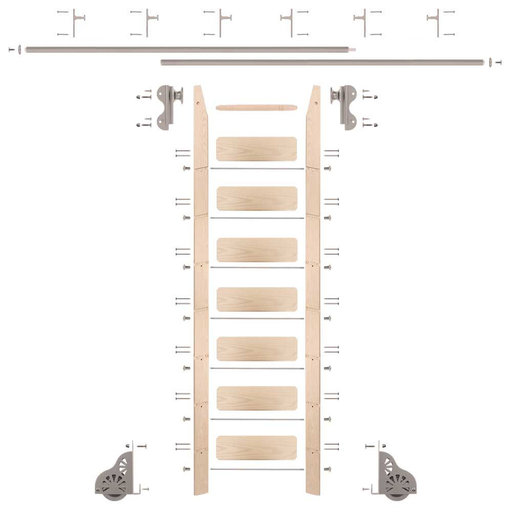 View a Larger Image of Rolling Hook 8-Foot Maple Ladder Kit with 12-Foot Rail and Vertical Brackets, Satin Nickel