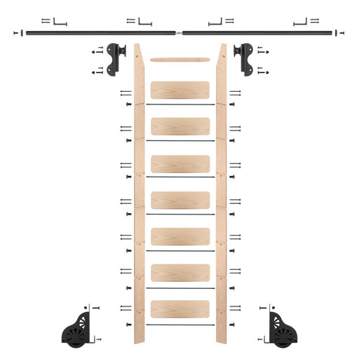 View a Larger Image of Rolling Hook 8-Foot Maple Ladder Kit with 8-Foot Rail and Horizontal Brackets, Black