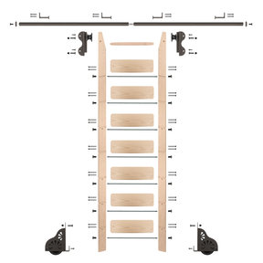 Rolling Hook 8-Foot Maple Ladder Kit with 8-Foot Rail and Horizontal Brackets, Bronze