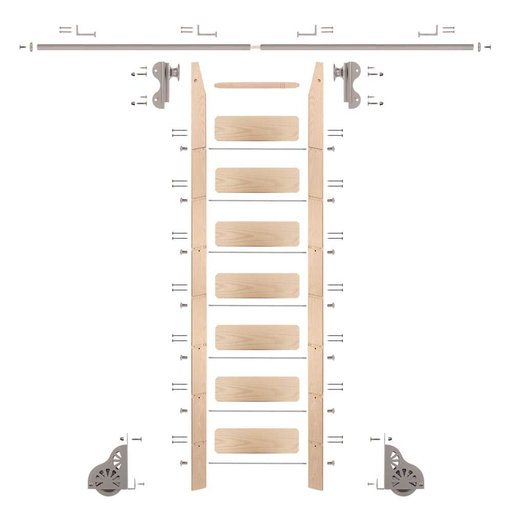 View a Larger Image of Rolling Hook 8-Foot Maple Ladder Kit with 8-Foot Rail and Horizontal Brackets, Satin Nickel