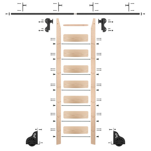 View a Larger Image of Rolling Hook 8-Foot Maple Ladder Kit with 8-Foot Rail and Vertical Brackets, Black