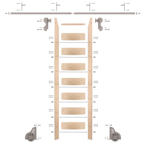 View a Larger Image of Rolling Hook 8-Foot Maple Ladder Kit with 8-Foot Rail and Vertical Brackets, Satin Nickel