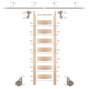 Rolling Hook 8-Foot Maple Ladder Kit with 8-Foot Rail and Vertical Brackets, Satin Nickel