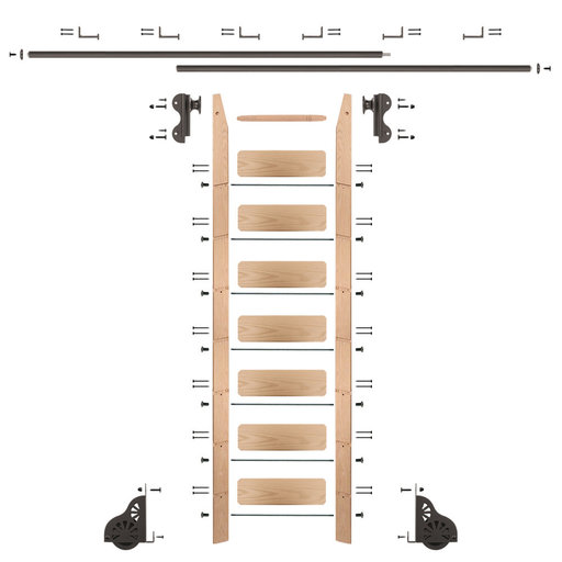 View a Larger Image of Rolling Hook 8-Foot Red Oak Ladder Kit with 12-Foot Rail and Horizontal Brackets, Bronze
