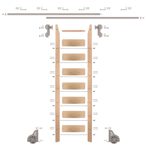 View a Larger Image of Rolling Hook 8-Foot Red Oak Ladder Kit with 12-Foot Rail and Horizontal Brackets, Satin Nickel