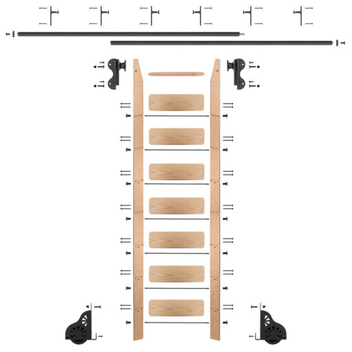 View a Larger Image of Rolling Hook 8-Foot Red Oak Ladder Kit with 12-Foot Rail and Vertical Brackets, Black