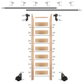 Rolling Hook 8-Foot Red Oak Ladder Kit with 12-Foot Rail and Vertical Brackets, Black