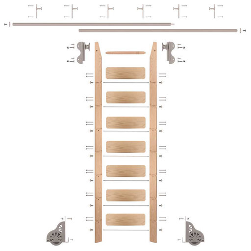 View a Larger Image of Rolling Hook 8-Foot Red Oak Ladder Kit with 12-Foot Rail and Vertical Brackets, Satin Nickel