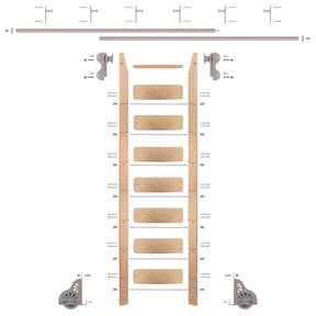 Rolling Hook 8-Foot Red Oak Ladder Kit with 12-Foot Rail and Vertical Brackets, Satin Nickel
