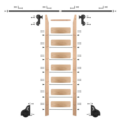 View a Larger Image of Rolling Hook 8-Foot Red Oak Ladder Kit with 8-Foot Rail and Horizontal Brackets, Black