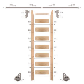 Rolling Hook 8-Foot Red Oak Ladder Kit with 8-Foot Rail and Horizontal Brackets, Satin Nickel
