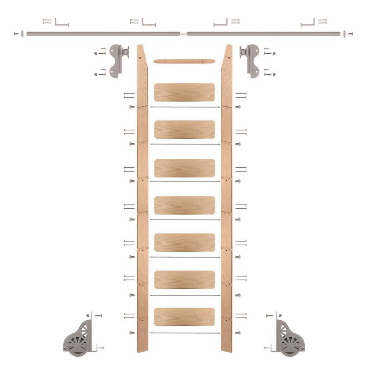 View a Larger Image of Rolling Hook 8-Foot Red Oak Ladder Kit with 8-Foot Rail and Horizontal Brackets, Satin Nickel