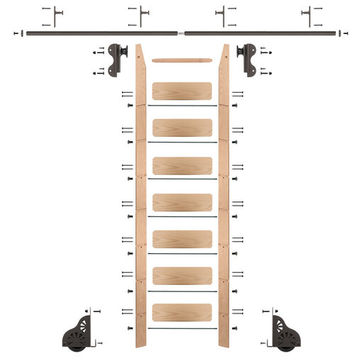 View a Larger Image of Rolling Hook 8-Foot Red Oak Ladder Kit with 8-Foot Rail and Vertical Brackets, Bronze