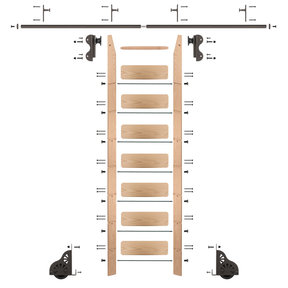Rolling Hook 8-Foot Red Oak Ladder Kit with 8-Foot Rail and Vertical Brackets, Bronze